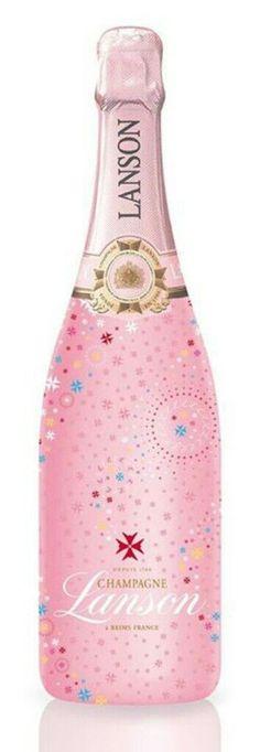 champagne LANSON COFFRET ALICANTE ROSE LABEL ET DEUX FLUTES.