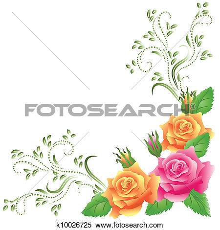 Clipart of Ornamental border with pink roses k10671965.