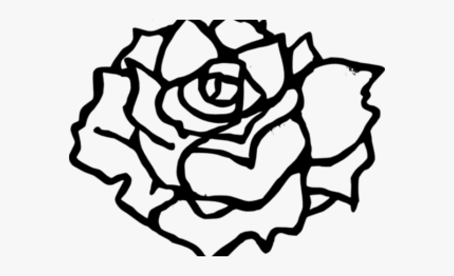 Simple Rose Clip Art Black And White #1311774.