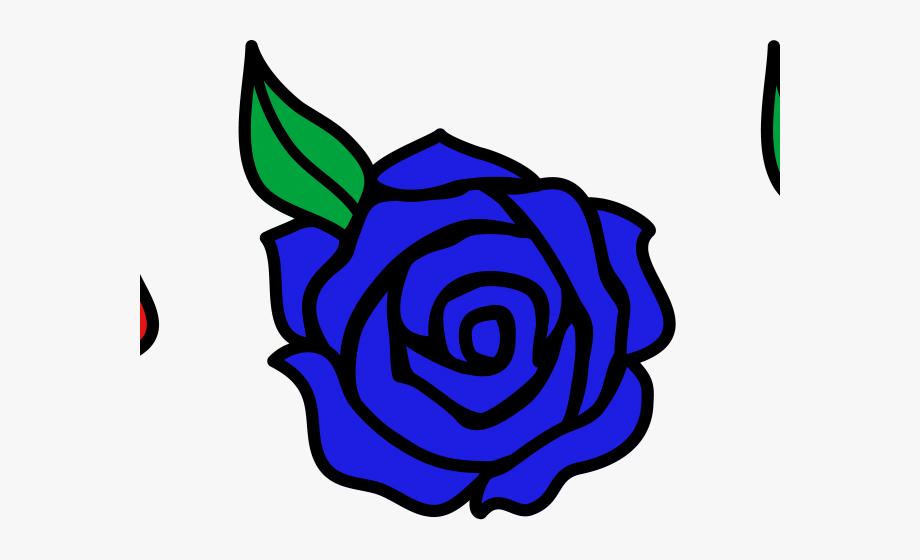 Blue Rose Clipart Easy Cartoon.