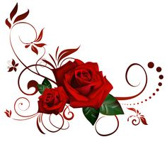 Painted Red Rose Clipart.