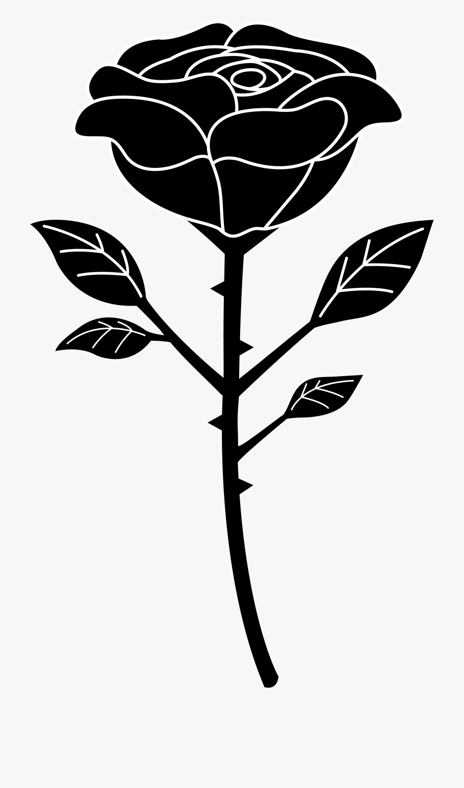 Rose Flowers Clipart Black And White.