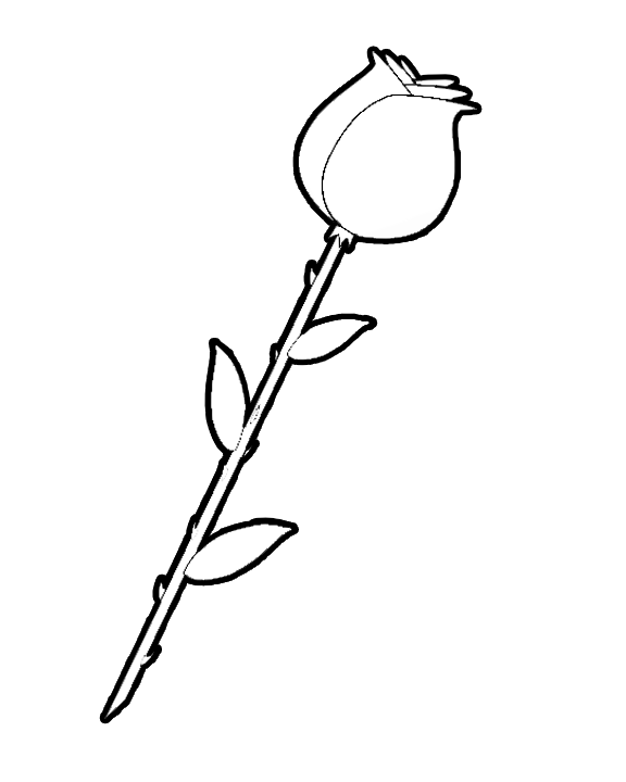 Rose clipart to color.