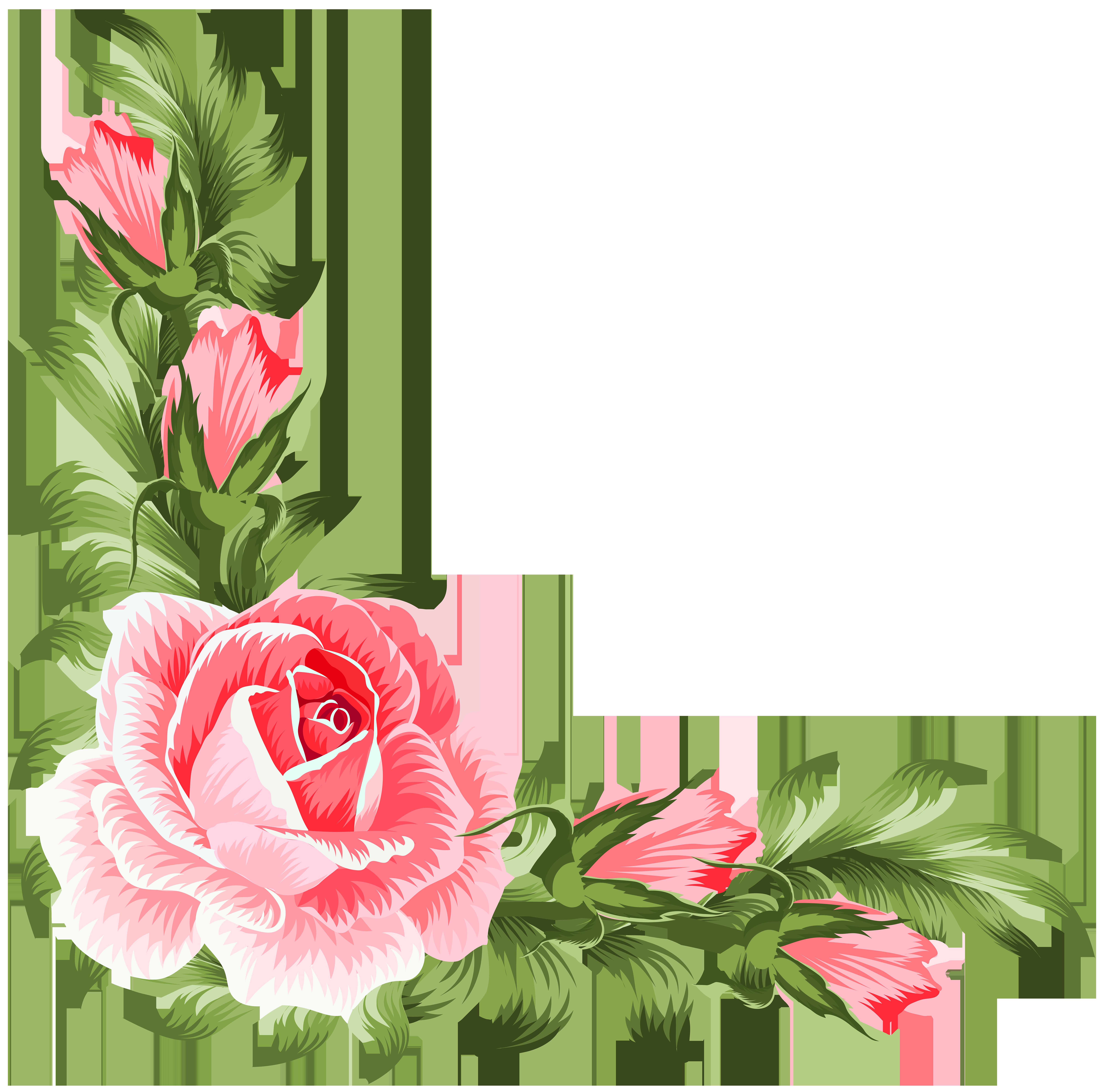 Rose Corner Decoration PNG Clip Art.