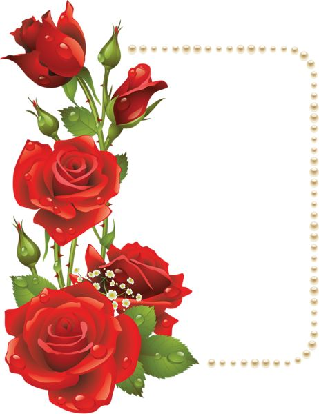 Red Flowers Frame Png Frame with red roses and.