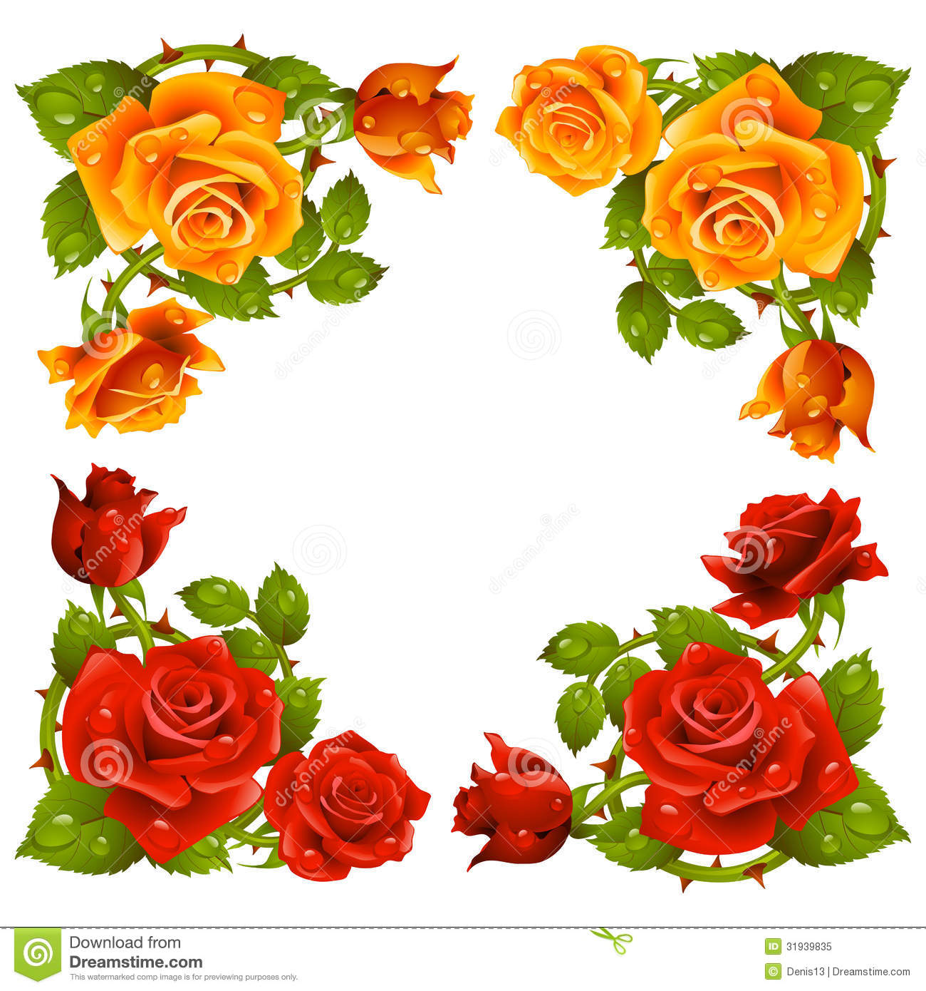 Rose Flower Border Vector.
