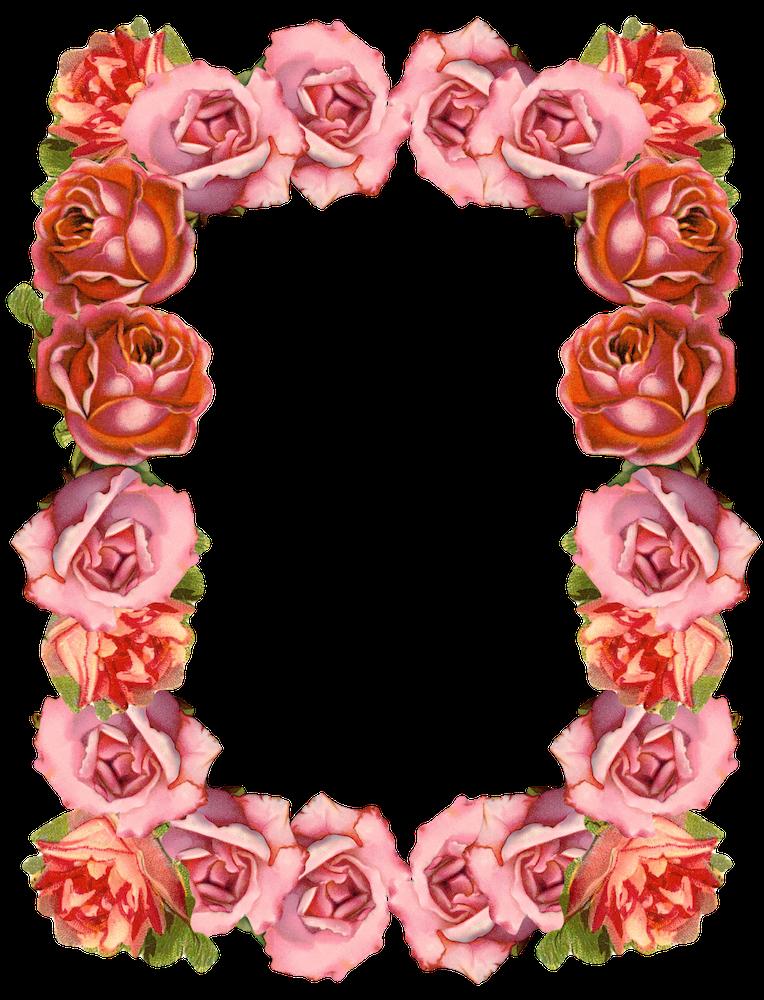 FREE printable vintage rose border papers ( + frame png).