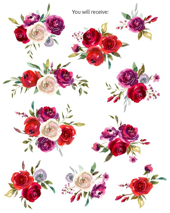 Watercolor Bouquets Clipart Floral Red Ruby Violet White.