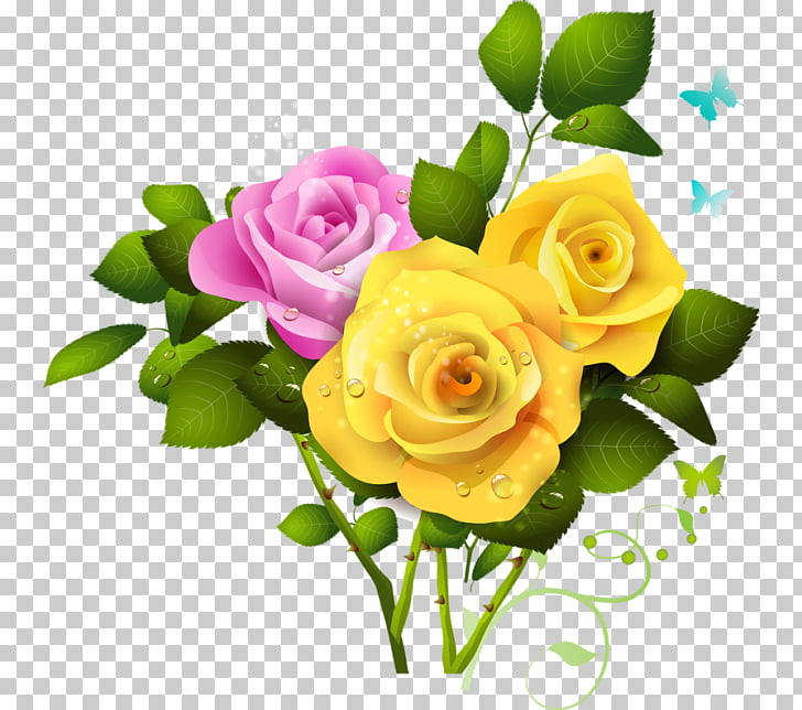 Rose Flower Pink , Yellow Rose File PNG clipart.