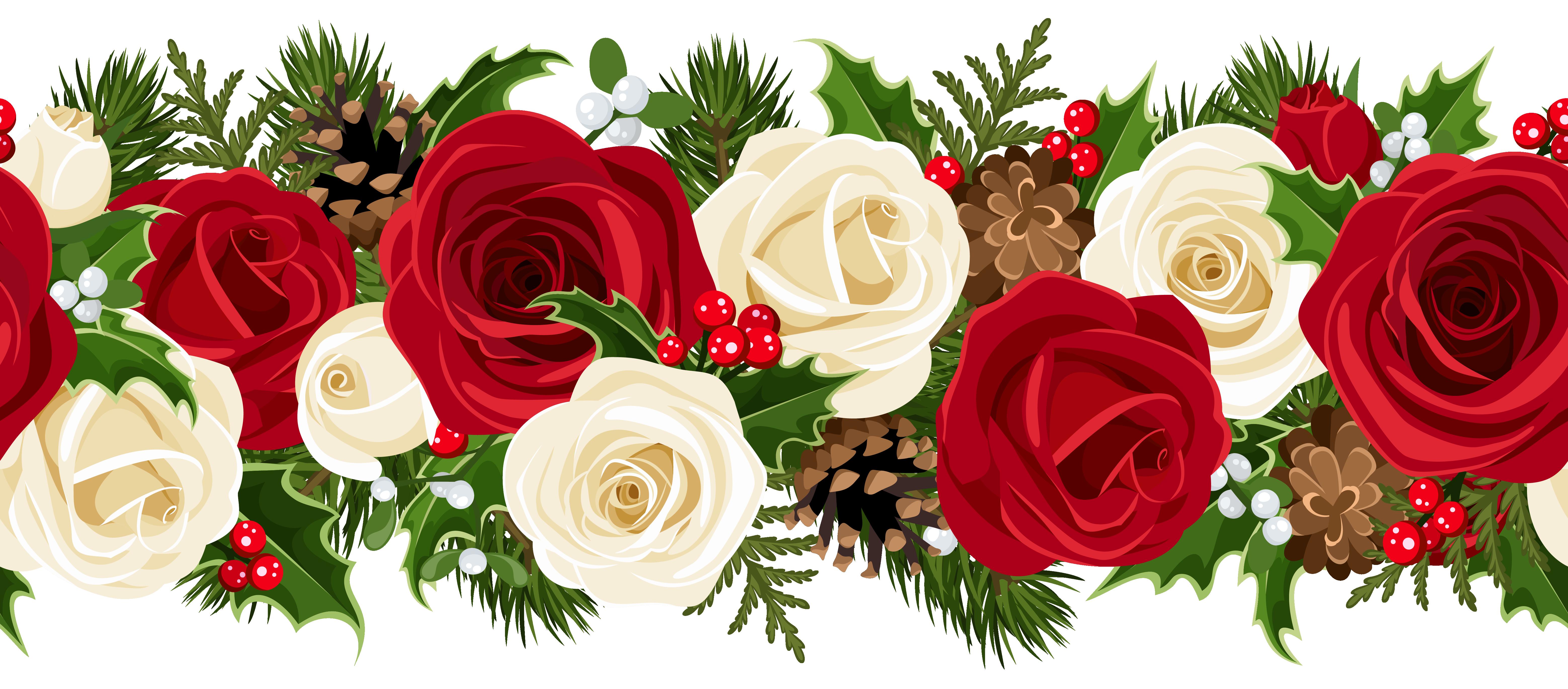 Christmas Rose Garland PNG Clip Art Image.