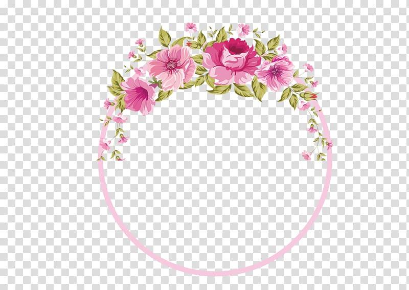 Pink, green, and white floral frame illustration, Border.