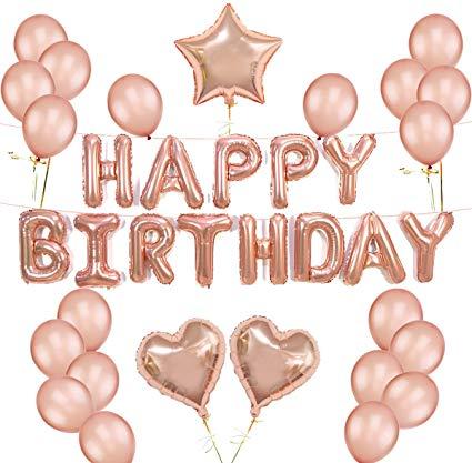 K KUMEED Rose Gold Balloons Decorations Set Happy Birthday Banner 12\