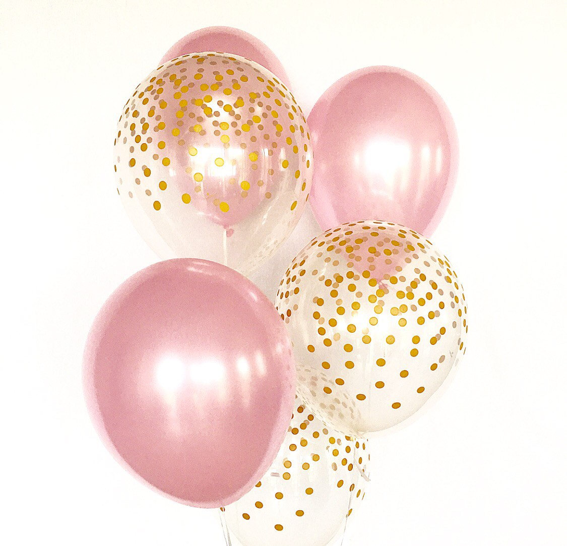 Rose Gold Balloons Clipart.
