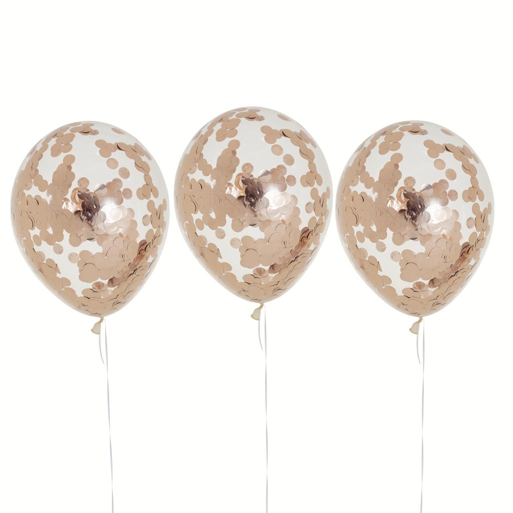 Rose Gold Confetti Balloons 30cm (3).