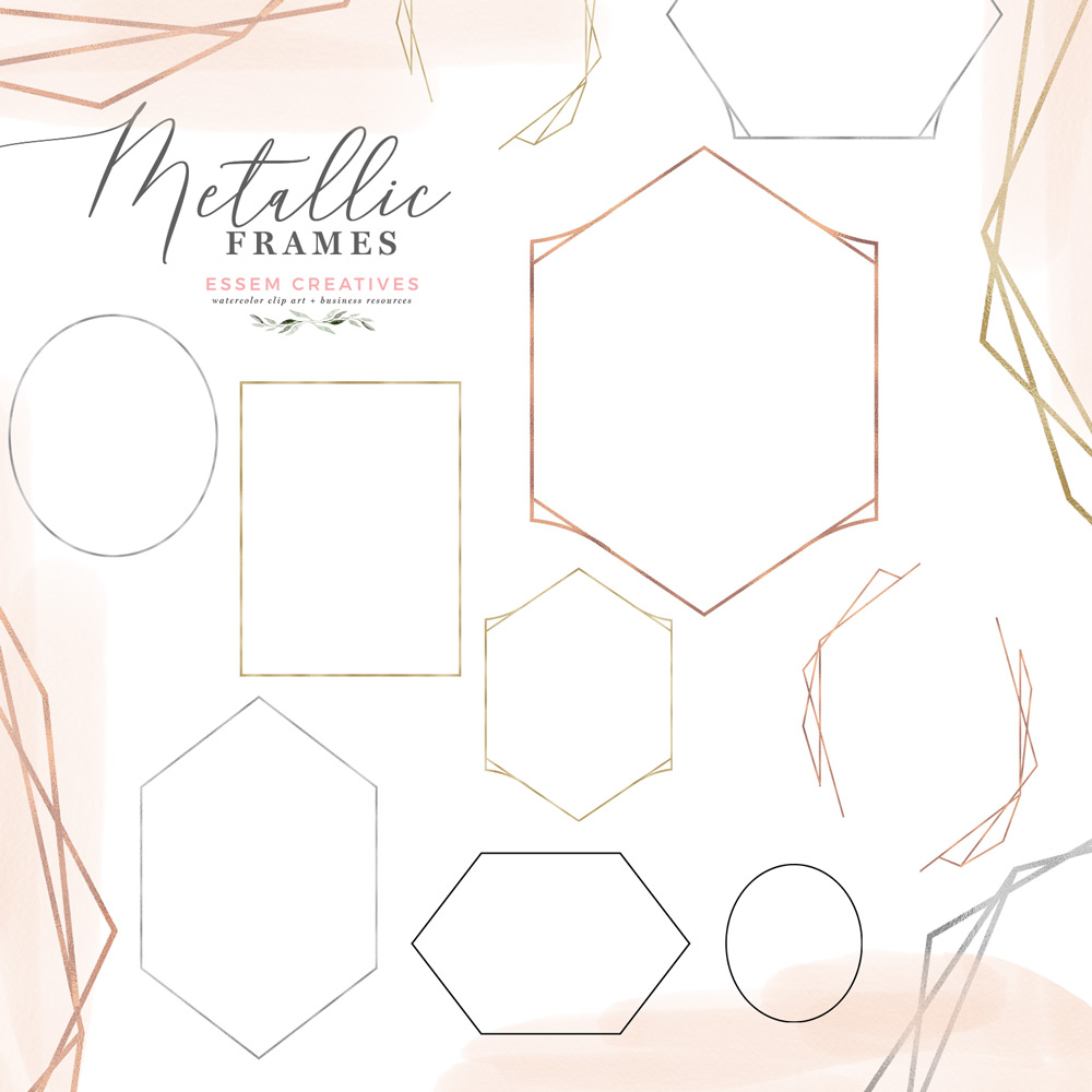 Metallic Geometric Frames Clipart in Rose Gold Foil, Gold Silver and Black.