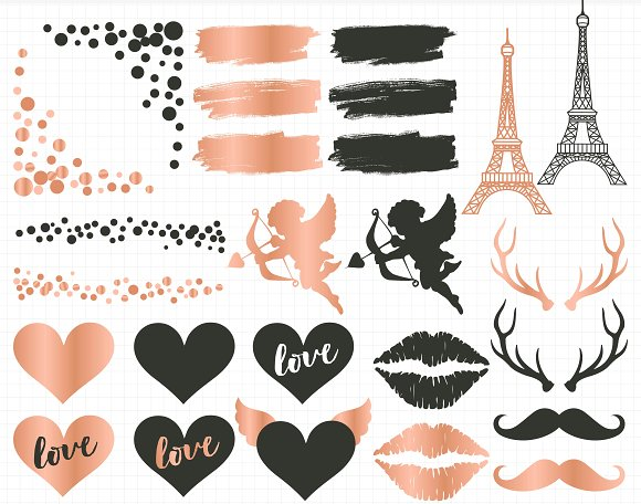 Valentine\'s Day Rose Gold Clipart.