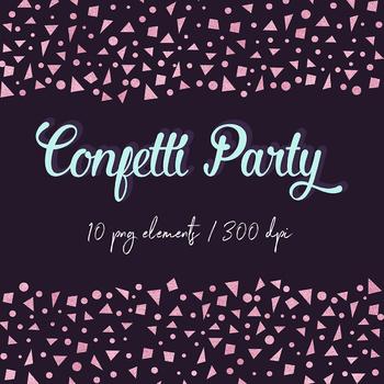 Rose Gold Confetti Clipart, Digital Confetti Borders, Rose Confetti Scraps.