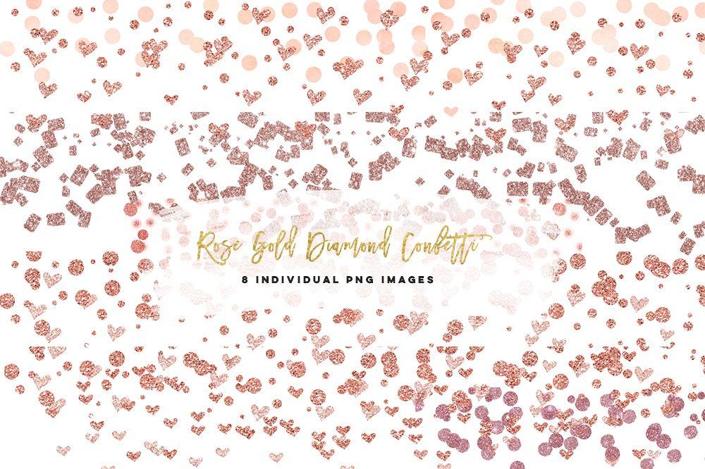 Rose Gold confetti heart clip art, planner stickers.