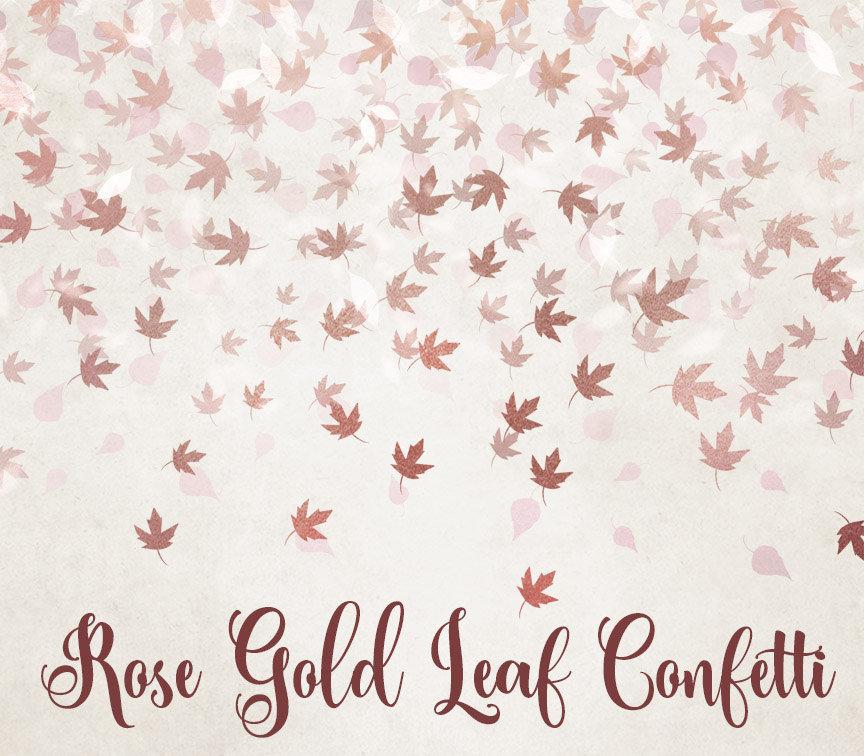 Rose Gold Leaf Confetti Clipart.