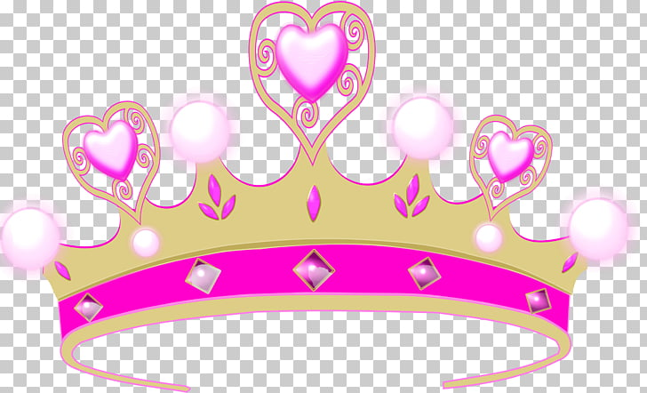 Crown Princess Tiara , Royal Queen s, pink and gold heart.