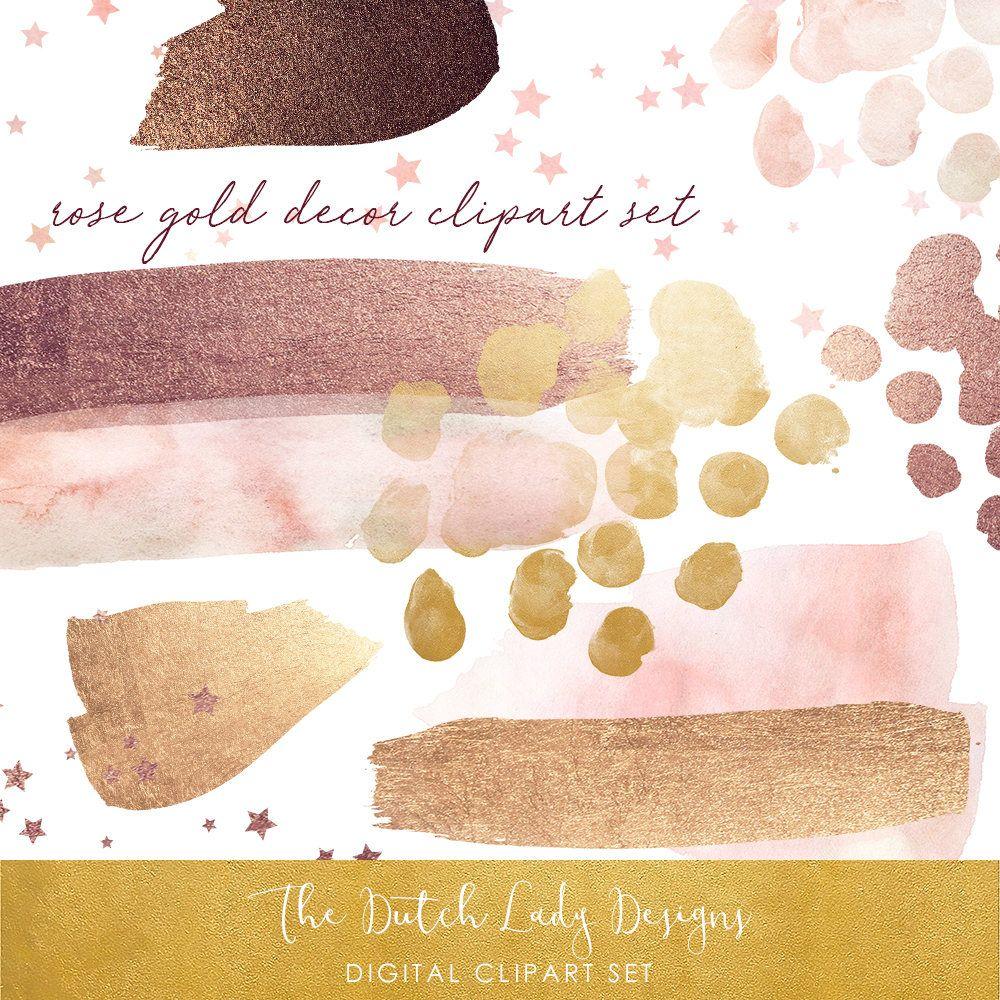 Watercolor & Glitter Clipart Set.