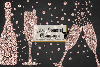 Blush Diamond Champagne Clipart in rose gold, blush pink and bright pink.