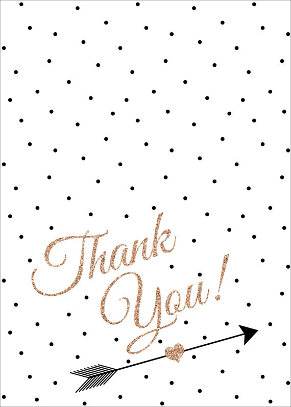 Rose Gold, Black and White Thank You Card, Polka Dot, Faux.