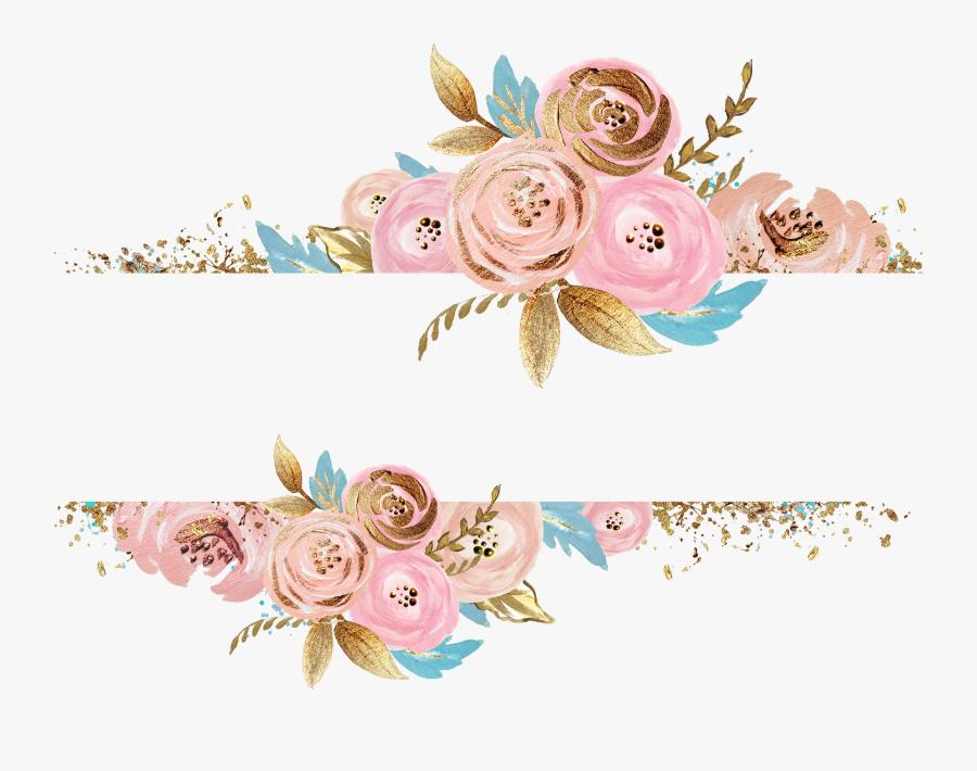 flowers #gold #pink #divider #header #textline #line.