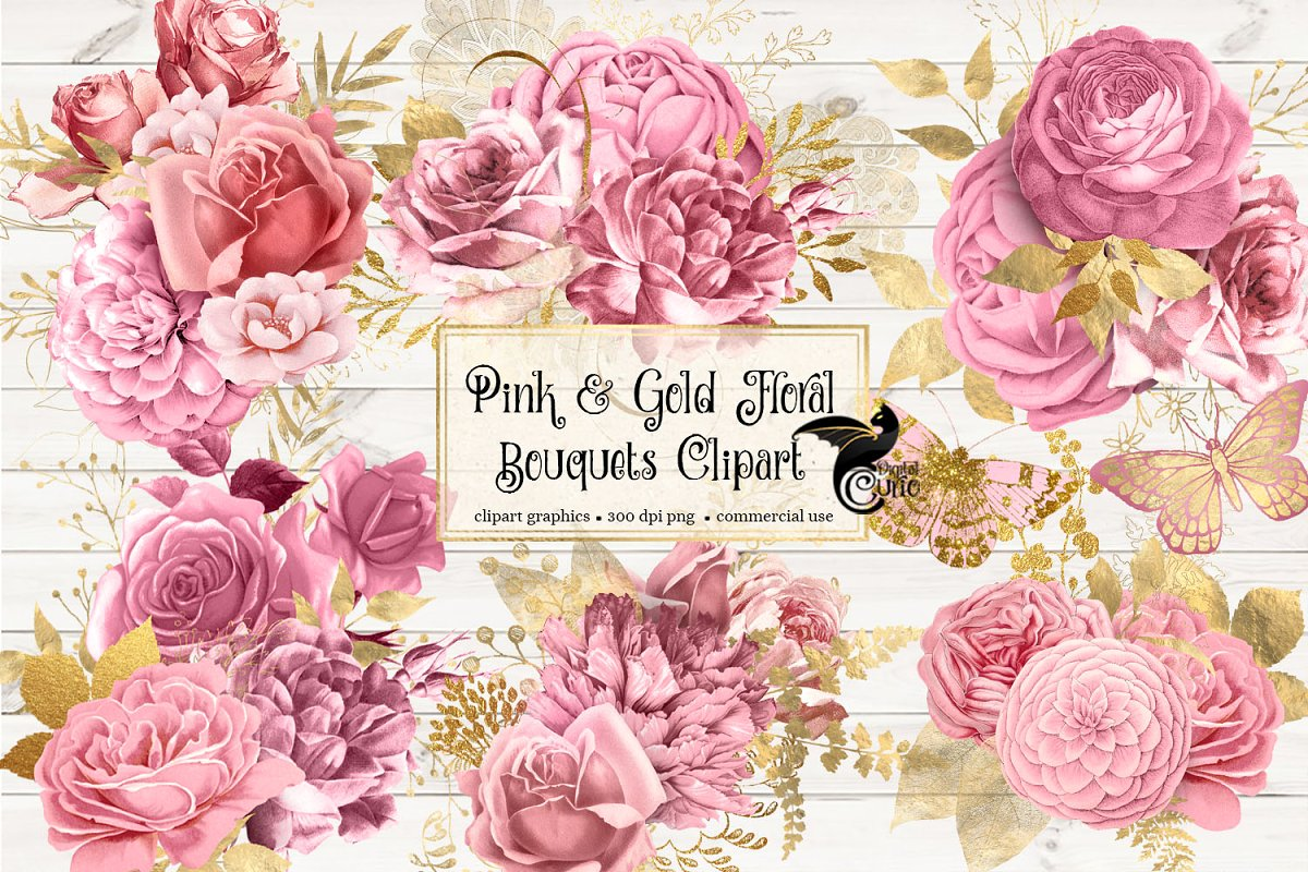 Pink and Gold Floral Clipart.