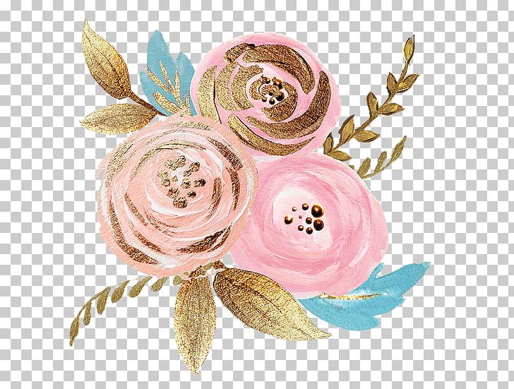 Cut flowers Rose Gold, flower, pink roses illustration PNG.