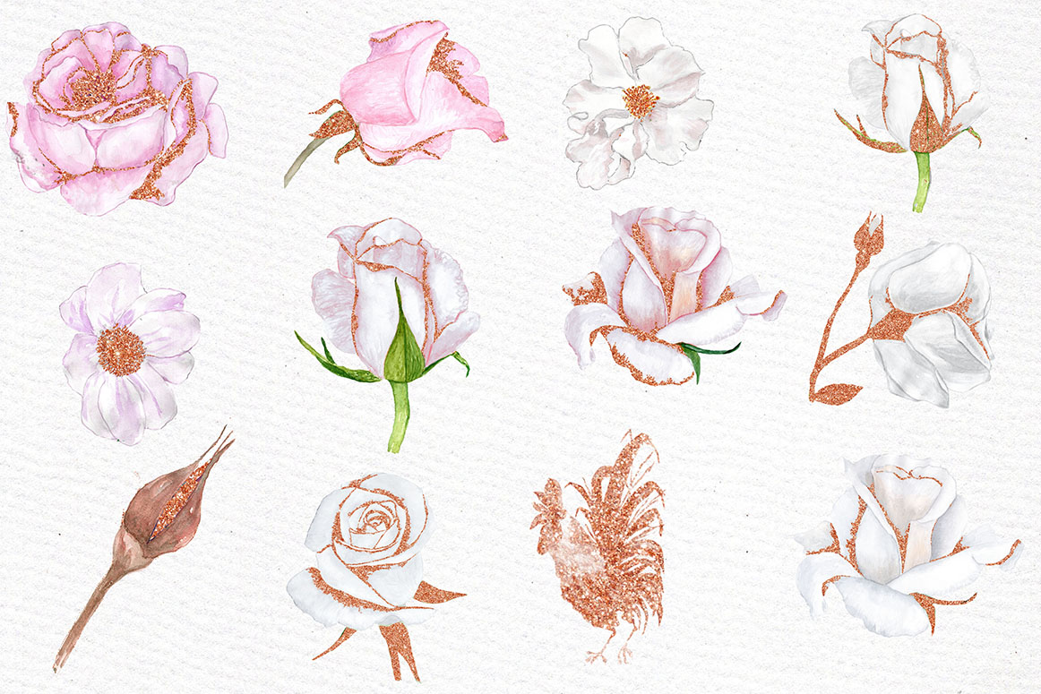 Rose Gold watercolor flowers clipart.