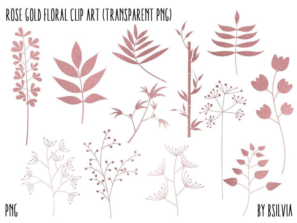 Rose Gold Floral Clip Art, Rose Gold Foil Leaves Clipart.