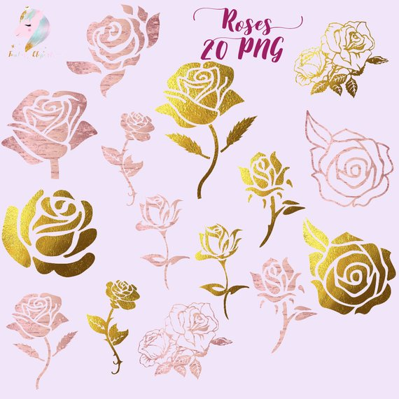 Gold foil roses, roses silhouettes, silhouette clipart, rose.