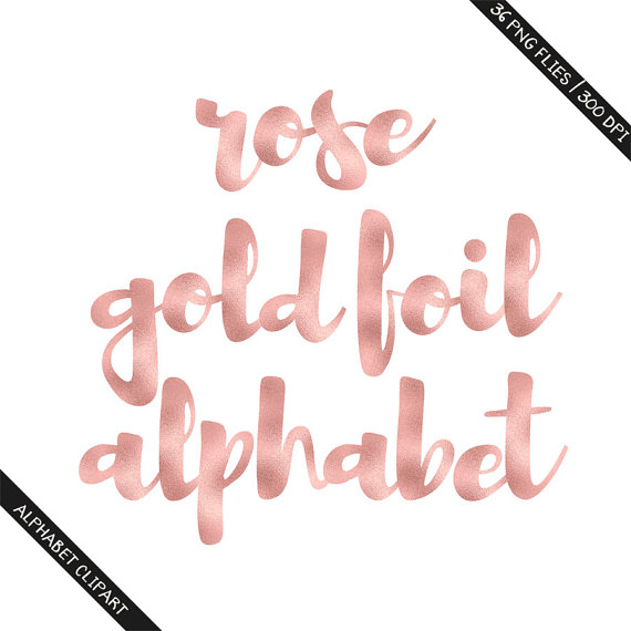 BUY 3 FOR 8 USD Rose gold foil alphabet clipart by.