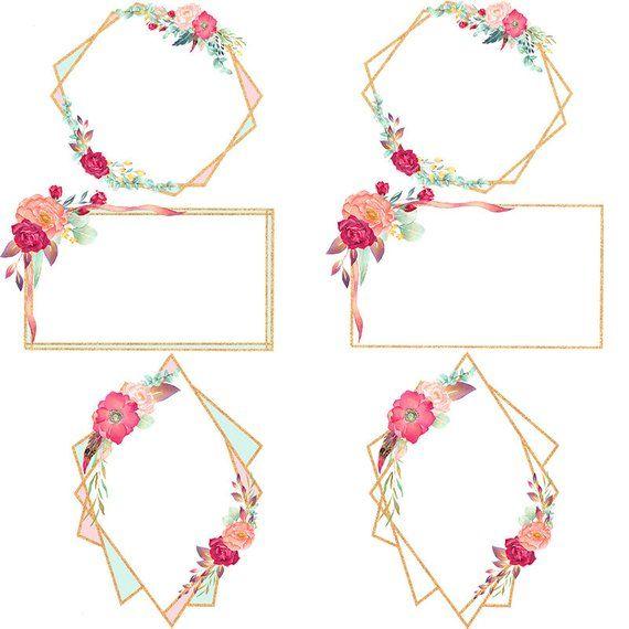 Geometric floral frames, rose gold frame clipart, gold.