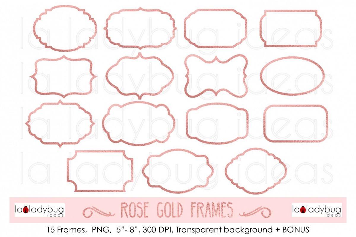 Rose gold frames. Clip art. Rose gold foil frames..