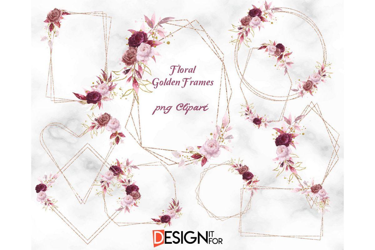Floral Gold frame clipart, Rose Gold Frame clip art.
