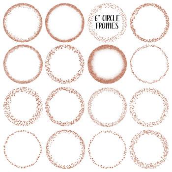 Rose Gold Glitter Frames and Borders Clip Art.