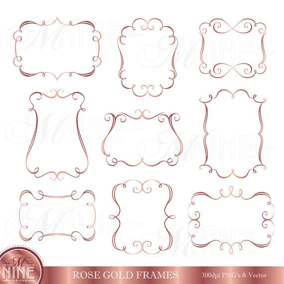 Frame Clip Art / Elegant Rose Gold Frames Clipart / Digital.