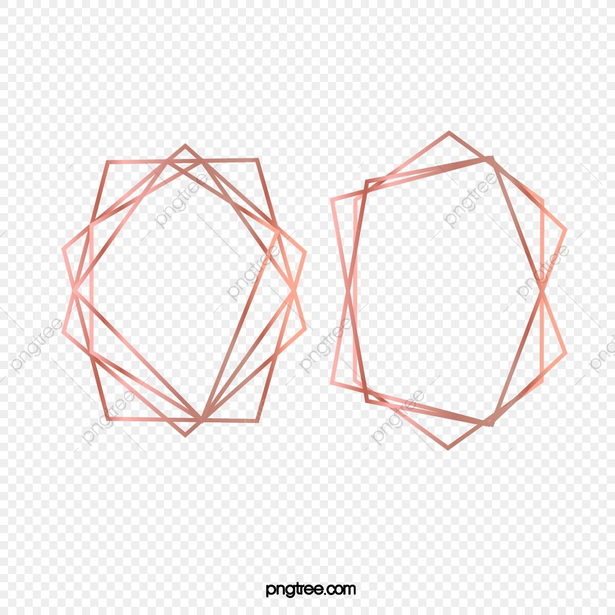 Geometric Polyhedron Frame Rose Gold Line, Brightness.