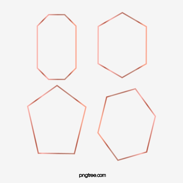 Rose Gold Geometric Polyhedron Frame Metal, Brightness.