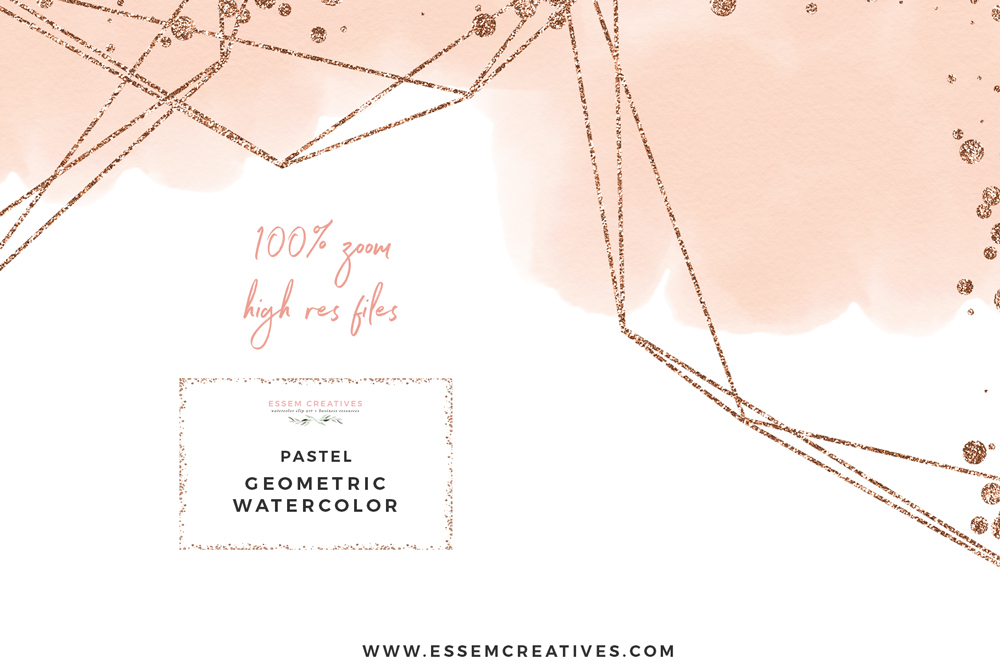 Light & Airy Watercolor Geometric Borders and Digital Paper Backgrounds.