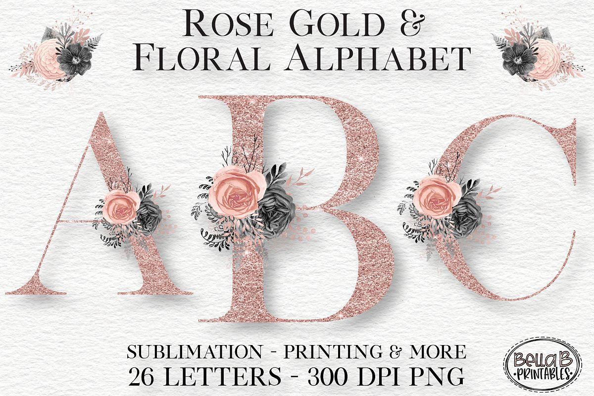 Rose Gold Glitter Floral Alphabet Set, Alphabet Clipart.