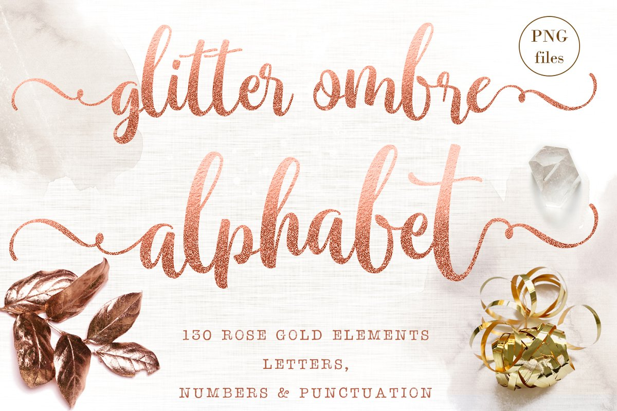 Rose gold letters & numbers clipart.