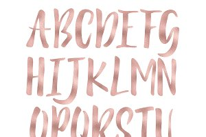 Rose gold foil alphabet clipart ~ Objects on Creative Market.
