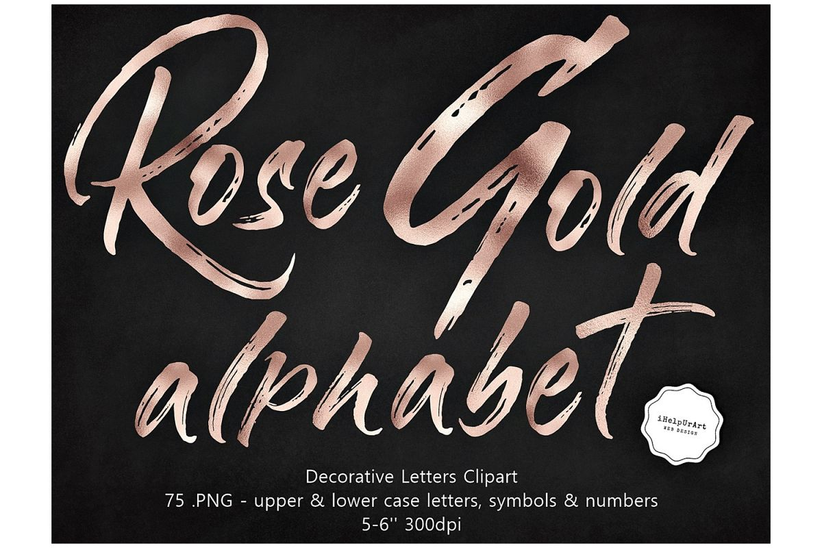Rose Gold Decorative Letters Clipart.