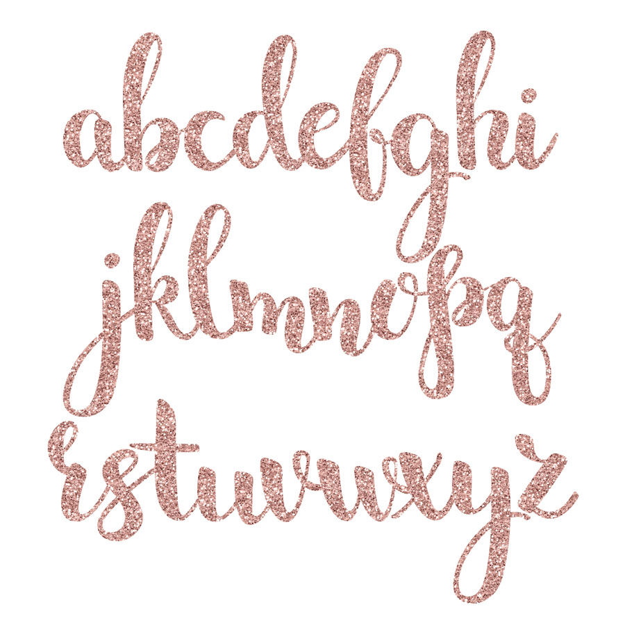 Rose gold foil & glitter alphabet clipart By PeDeDesigns.