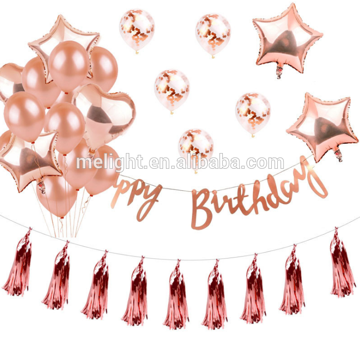 Rose Gold Letters Balloon For Birthday Decorative Aluminum.