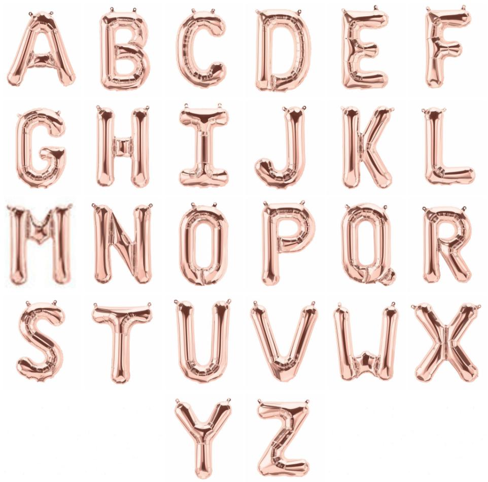16 Inch Sleek font Rose Gold Alphabet Balloon.