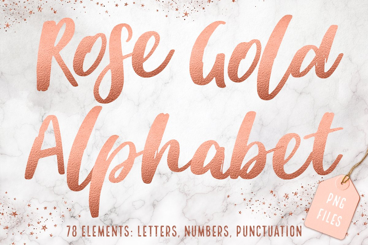 Rose gold foil alphabet clip art.